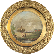 Mid-19th Century English Brass Cabinet Plate Hand Painted Landscape
