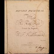 1808 Original Sheet Music Friedrich Wilhelm Michael Kalkbrenner Rondo Pastoral pour le Forte Piano