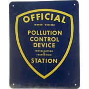 Large Vintage Metal and Enamel California Official Pollution Control Sign
