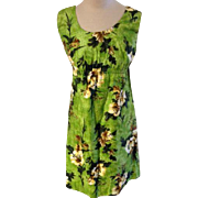 Lauhala of Hawaii Green Hawaiian Print Dress