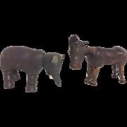 Vintage Wood Toy Circus Schoenhut Elephant Donkey Articulated German