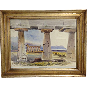 Antique 19th C Italian Landscape Greek Ruins Paestum Watercolor Watercolour