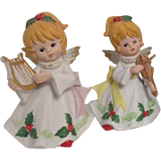 Vintage Christmas Angels Musical Instrument Holly Porcelain Homco Home Interiors