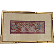 Chinese Silk Embroidered Rust Cream Gold Colored Bamboo Frame Asian Art