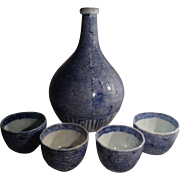 Stoneware Japanese Beverage Set Wine Tea Bottle Cups Blue White