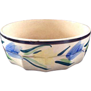 Vintage Hand Painted Stoneware Tulip Bowl Japan Japanese Serving Large