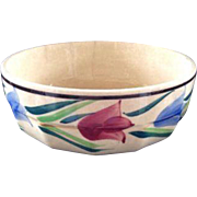 Vintage Hand Painted Stoneware Tulip Bowl Japan Japanese Serving Small
