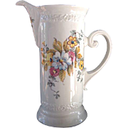 Vintage Ceramic Hand Painted Floral Pitcher Ceramiche Foligno Tall Jug