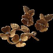 Vintage Gold Toned Glitter Costume Flowers Brooch Clip Earrings Set Germany