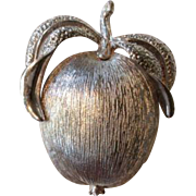 Vintage Sarah Coventry Apple Silver Colored Fruit Brooch Pin Costume