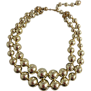 Vintage Coro Signed Choker Gold Toned Costume Jewelry Necklace Double Strand