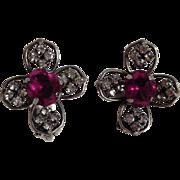 Vintage Retro Pink Cross Rhinestone Clip On Costume Earrings
