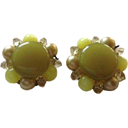 Vintage Retro Floral Flowers Large Lime Green Beaded Clip On Earrings