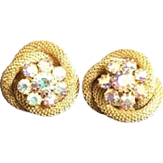 Vintage Retro Gold Toned Rope Knots Rhinestone Center Clip On Costume Earring