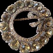 Vintage Rhinestone Wreath Bow Large Bling Brooch Pin Costume