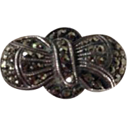 Vintage Sterling Silver Bow Marcasite Cocktail Ring 7