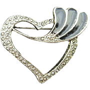Vintage Brooch Pin Costume Jewelry Silver Colored Marcasite Heart