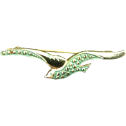 Vintage Bird Brooch Pin Costume Jewelry Green In Flight