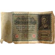Old German 10000 Reichsbanknote 1922 Behntaufend Mark Berlin Paper Money
