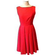 1950's Red Wool Blend Dress Holiday Rockabilly