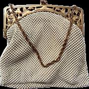Vintage Whiting Davis Cream Enamel Mesh Purse Evening Hand Bag