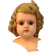 Vintage Shutz-Marke Shutz Marke Celluloid Doll Head Glass Eyes Blonde