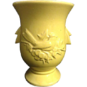 Vintage McCoy Art Pottery Yellow Cardinal Song Bird Handled Vase Planter