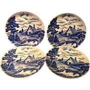 "Pre WWII War Japanese Blue White Porcelain Plates Farm Scene Pastoral 9.75"""