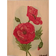 Original Painting Red Poppies Remembrance Acrylic Canvas Floral Botanical