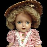 Unmarked Vintage Composition Doll Red Striped Dress Straw Hat Blonde