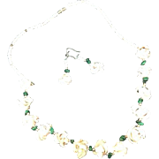 Vintage Costume Jewelry Necklace Earrings Shell Set Floral Malachite Seashell