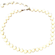 Vintage Necklace Choker Signed Japan White Glass Beads Costume Jewelry