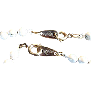 Vintage Costume Jewelry Necklace White Flower Beaded Metal