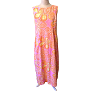Vintage Malihini Pink Orange Designer Collection Hawaiian Dress MuuMuu