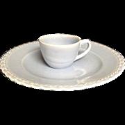 Vernon Kilns Blue Set Plate Cup California Pottery