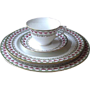 Royal Worcester Bone China Teacup Cup Saucer Luncheon Dinner Plate Pink Green G4