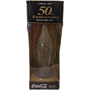 Coca Cola Bottle Salvaged 50th Anniversary Coral Sea Vintage WWII Contour Rotary