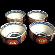 Japanese Imari Phoenix Blue Orange Handpainted Tea Cups Soup Small Bowl Set of Four