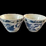 Vintage Porcelain Japanese Tea Rice Soup Bowl Set Blue White Cups