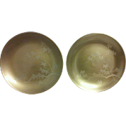Vintage Japanese Wooden Lacquer Gold Maple Leaf Plates Pair