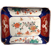 Japanese Antique Imari Blue Orange White Floral Handpainted Rectangle Plate