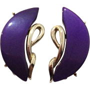 Vintage Coro Purple Thermoset Clip On Earrings Signed Costume Jewelry