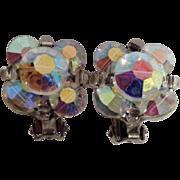 Vintage Retro Clip On Crystal Beaded Aurora Borealis Earrings Costume Jewelry