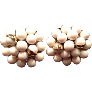 Vintage Clip On Back Costume Jewelry Earrings Beaded White Beaded Mid Century