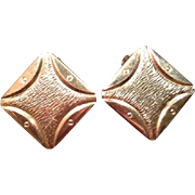 Vintage Clip On Back Costume Jewelry Earrings Gold Toned Square Mid Century