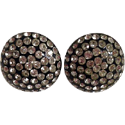 Vintage Retro Black Plastic Round Rhinestone Bling Screw Back Earrings