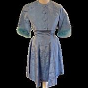 Blue Satin Vintage Brocade Dress with Boa Sleeved Bolero