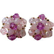 Vintage Retro Lavender Pale Pink Beaded Funky 1960's Clip On Earrings