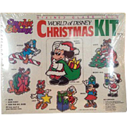 World Of Disney Christmas Kit Makit Bakit Suncatcher Mickey Craft Vintage 80's