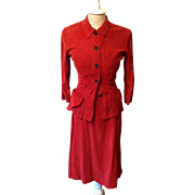 40's Junior Clique Corduroy Dress Suit Holiday Christmas Costume Vintage Red
